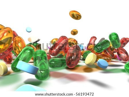 Close up of colorful pills over a white background - stock photo
