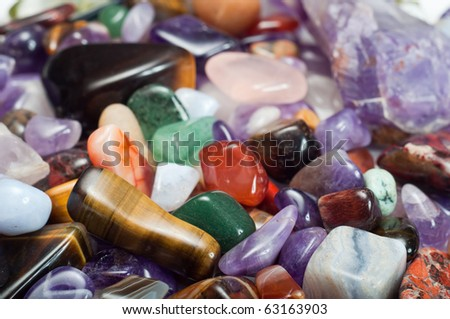 Close-up of colorful semi-precious stones - stock photo