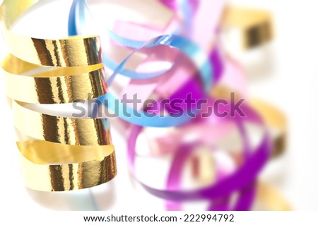 CLose up of colorful serpentine streamers - stock photo