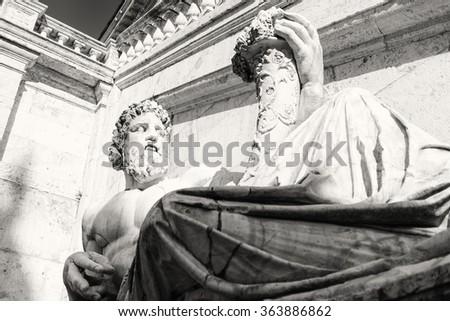 Close-up of Colossal marble statue representing the river Nile in Piazza del Campidoglio, Rome Italy - stock photo