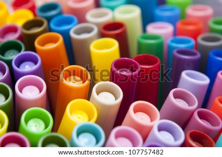 Close-up of colour pens