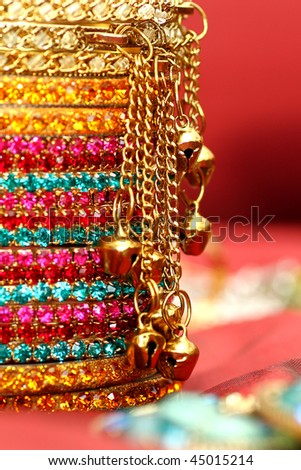 Close up of colourful Indian Bangles. - stock photo
