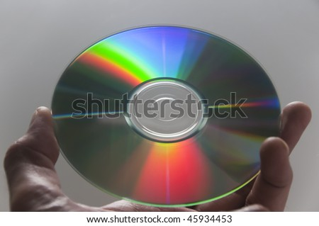 Close-up of compact disc held by hand
