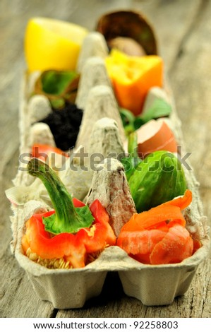 Close up of compost fruit and vegetables in egg carton