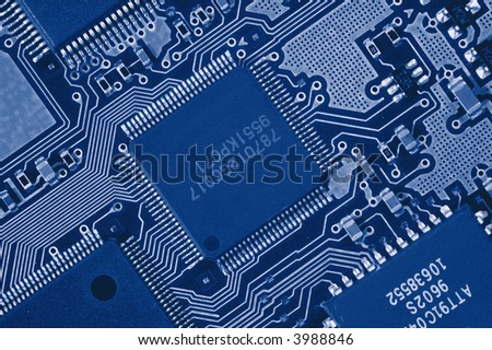 Close-up of Computer Circuit Board - stock photo