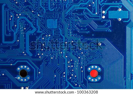 Close up of computer circuits in blue tones