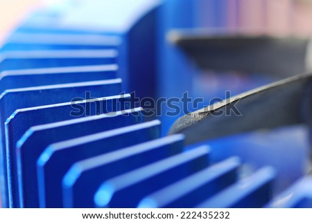 Close-up of computer fan blades  - stock photo