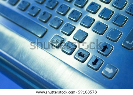 Close up of computer key board. - stock photo