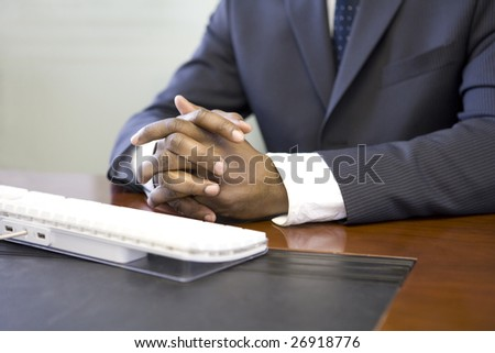Close up of computer keyboard and businessman?s hands - stock photo
