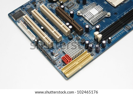 close up of computer motherboard - stock photo