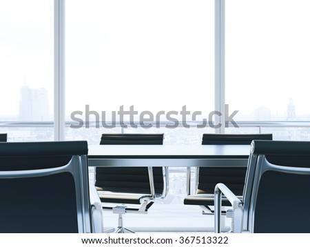 close up of conference room with table and chairs. 3d render - stock photo