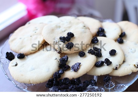 Close-up of cookies with raisins - stock photo