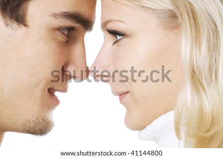 Close-up of couple touching noses