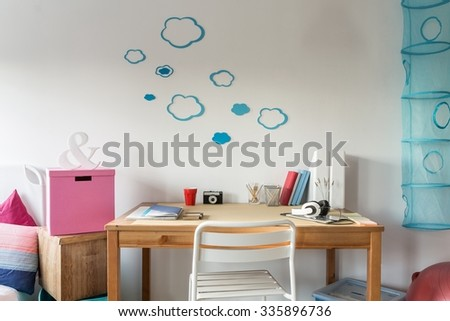 Close-up of cozy workspace in student's room - stock photo