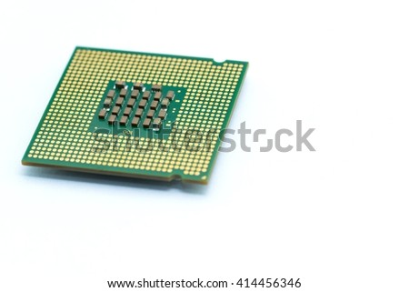 Close up of CPU microchip isolated on white background ; brians of computer