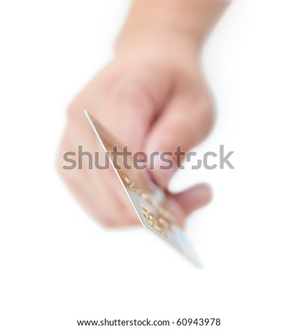 Close-up of credit card in human hand - stock photo