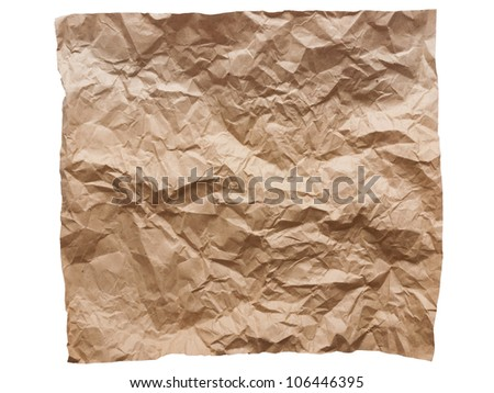 close up of crumpled brown paper isolated on white