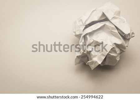 close up of crumpled paper ball : use filter effect to old look - stock photo