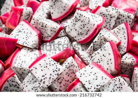 close up of cube dragon fruit
