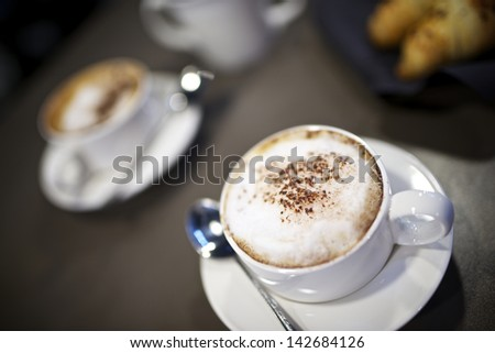 close up of cup of coffee - stock photo