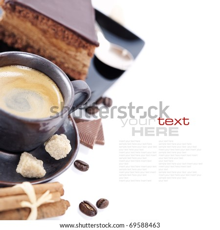 Close-up of cup of coffee and chocolate cake (easy removable text) - stock photo