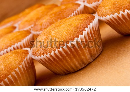 Close-up of cupcakes on wooden board. - stock photo