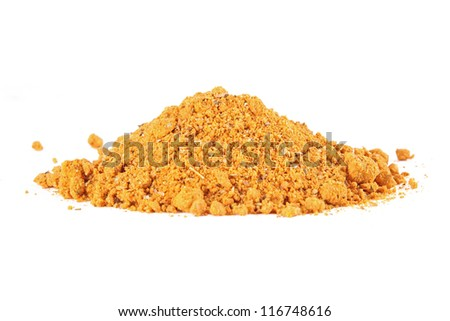 Close-up of curry spice isolated on white background