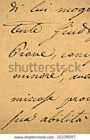Close-up of cursive text on an old letter - stock photo