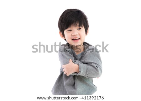 Close up of cute asian boy on white background isolated. - stock photo