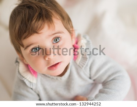 Close-up Of Cute Baby, Indoors