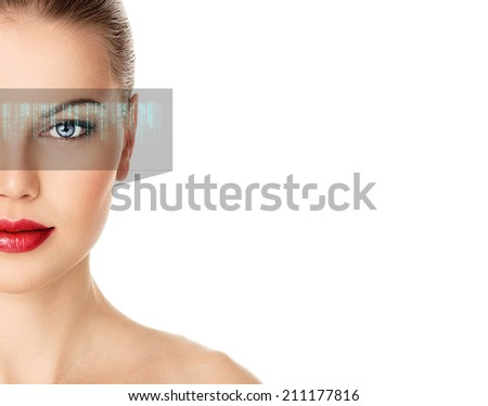 Close-up of cyber woman viewing digital display. Abstract vision concept. - stock photo