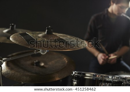 Close Up Of Cymbals On Drummer's Drum Kit - stock photo