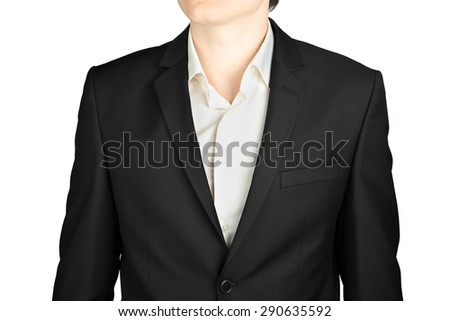 Close-up of dark gray men blazer made of wool and viscose, isolated on a white background.