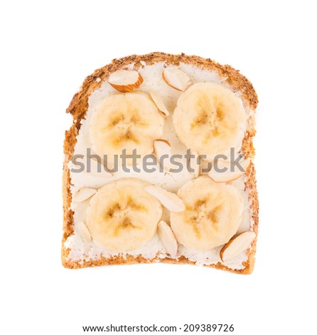 Close up of delicious banana sandwich. Whole background.