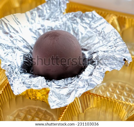 Close up of delicious chocolate candy, selective focus.  - stock photo