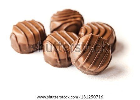 close up of delicious chocolate pralines - stock photo
