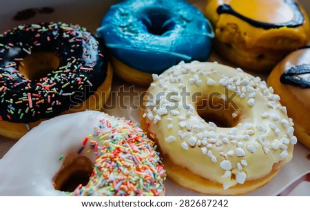 Close-up of delicious donuts. - stock photo