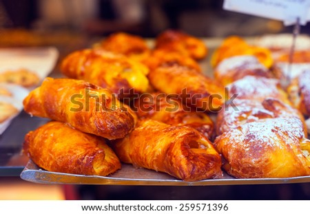 Close up of delicious Italian brioches - stock photo