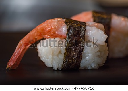 Close up of delicious japanese food call nigiri sushi made from sweet shrimp seaweed and japanese rice in local sushi food  kanazawa japan.