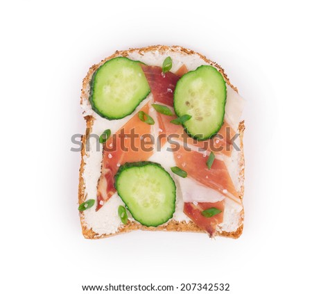 Close up of delicious sandwich. Whole background. - stock photo