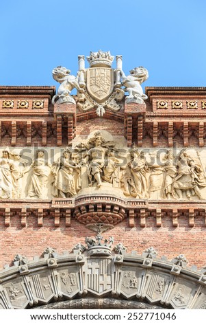 Close up of detail Arc de Triomf in Barcelona, Spain - stock photo