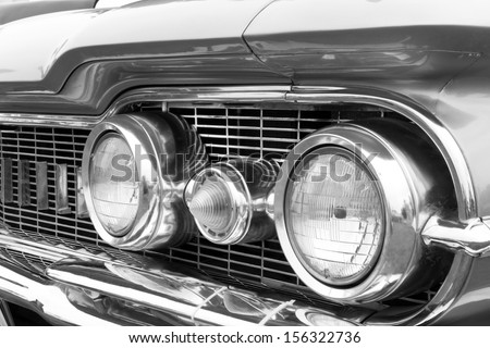 Close-up of details of vintage American Cars - stock photo