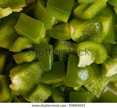 Close up of diced green bell pepers. - stock photo