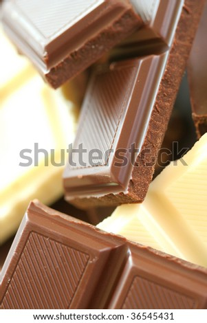 Close-up of different chocolate