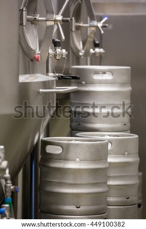 Close-up of distillery and keg at bewery
