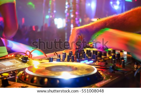 close dj playing party music on stock photo 551008048 shutterstock. Black Bedroom Furniture Sets. Home Design Ideas