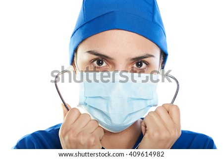 close up of docotor with stethoscope isolated on white background