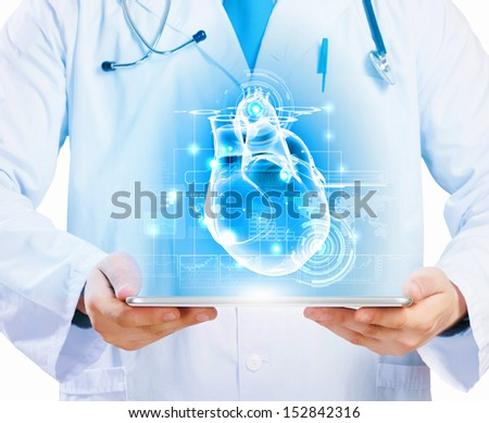 Close up of doctor's body holding tablet pc with media illustration - stock photo