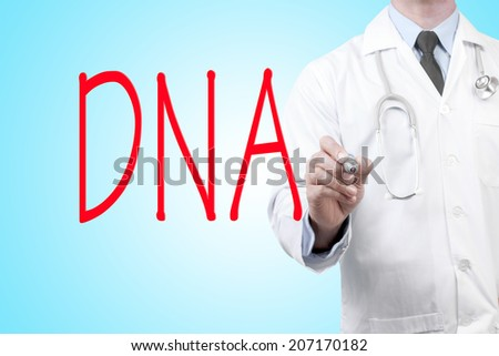 close up of doctor writing word DNA on screen glass with marker pen - stock photo