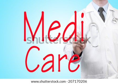 close up of doctor writing word medi care on screen glass with marker pen - stock photo